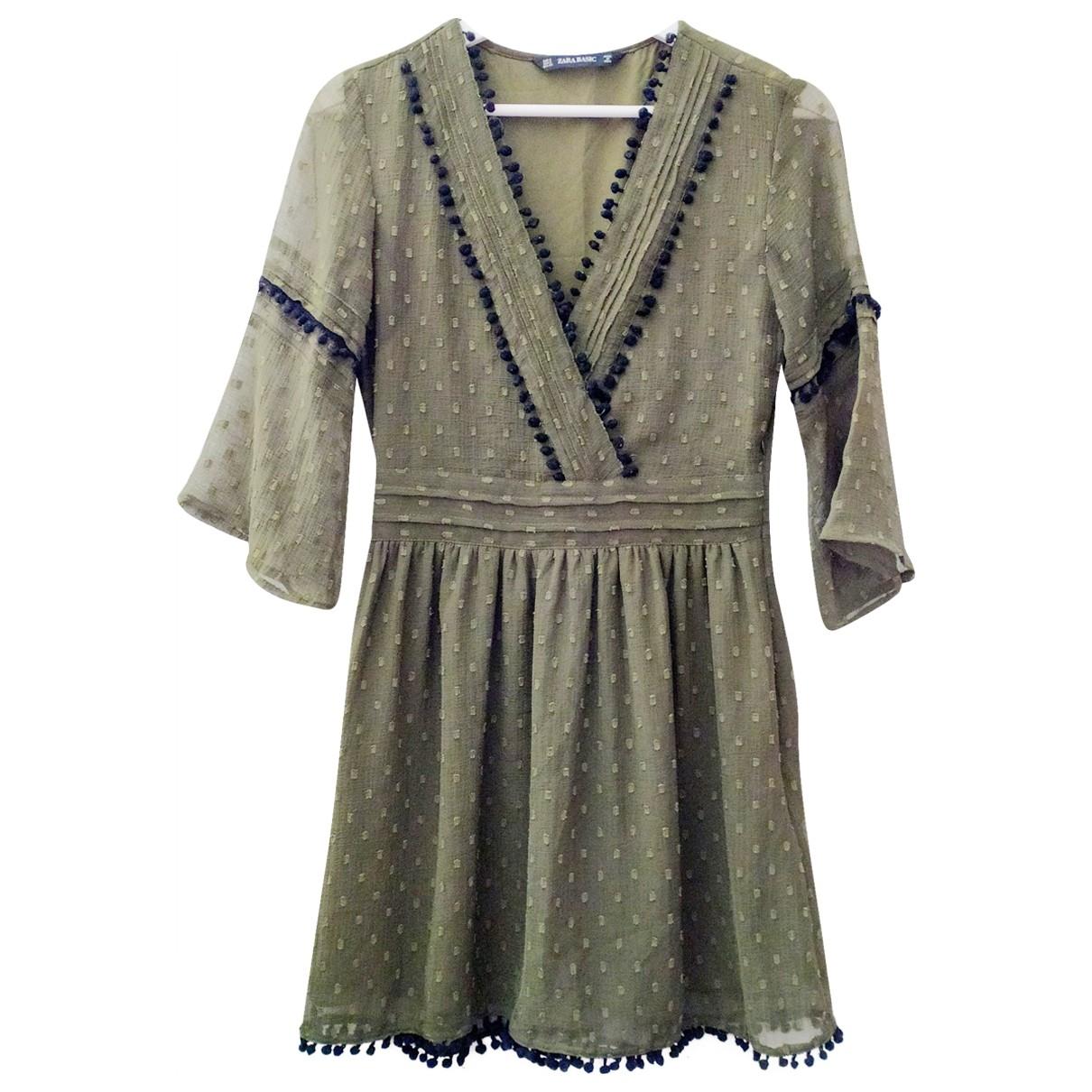 Zara - Robe   pour femme en soie - vert