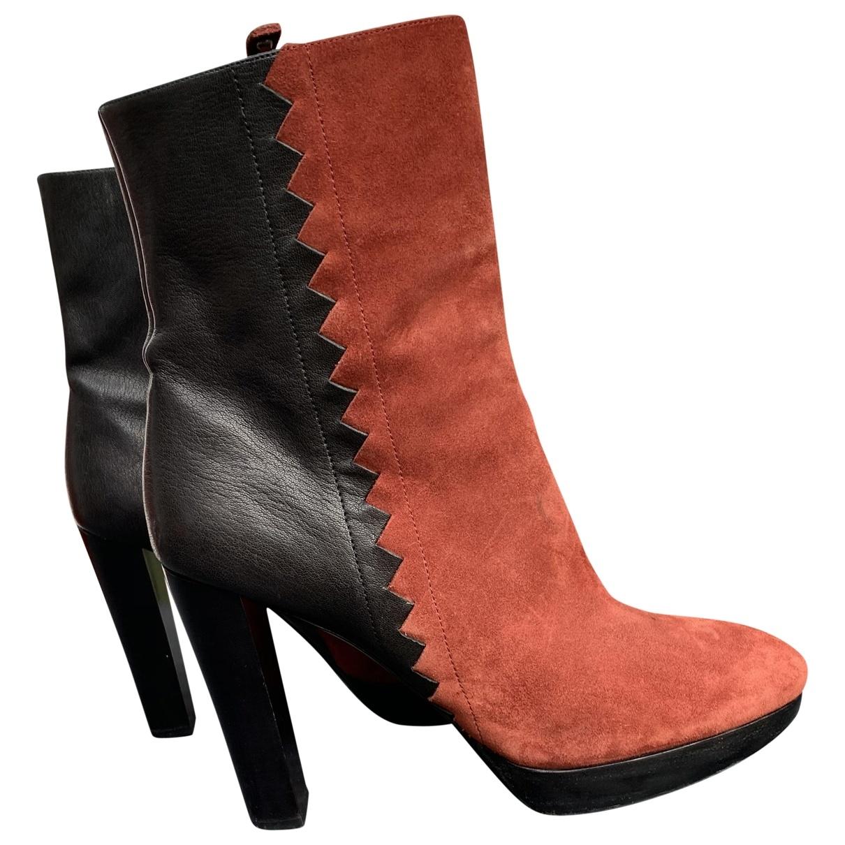 Longchamp - Boots   pour femme en cuir - noir