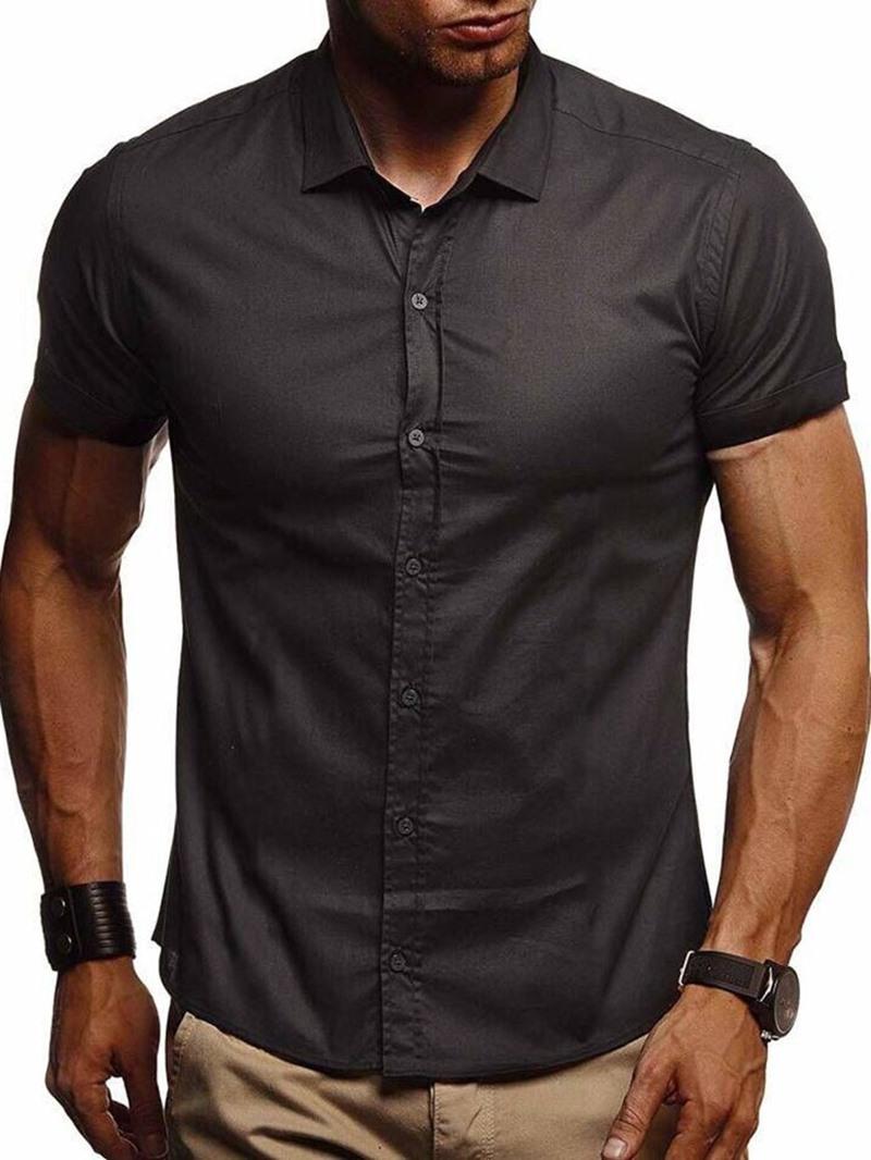 Ericdress Plain Casual Lapel Men's Slim Shirt