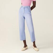 100% Baumwolle Crop Jeans mit geradem Beinschnitt
