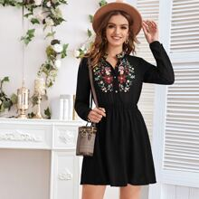 Notched Collar Floral Embroidery Dress
