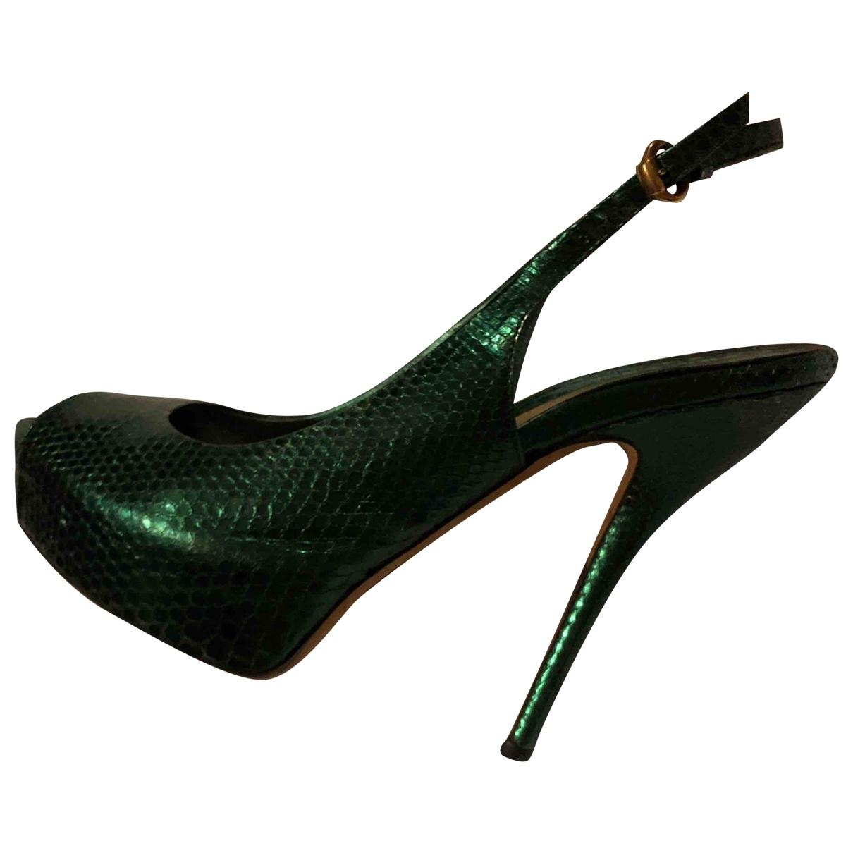 Gucci \N Green Python Sandals for Women 37 EU