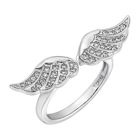 Womens 1/2 CT. T.W. Cubic Zirconia Sterling Silver Wing Cocktail Ring, 6 , No Color Family