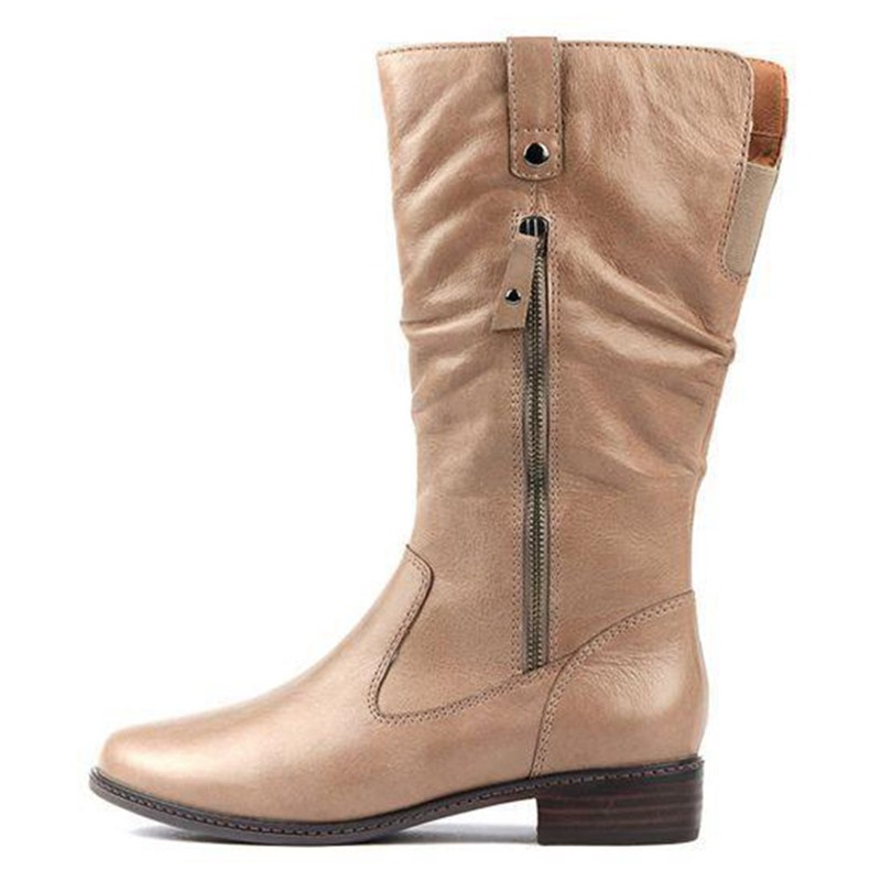 Ericdress Side Zipper Round Toe Chunky Heel Western Boots
