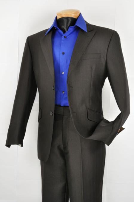 Mens Slim Fit Suit  2Button Suit Two Button Mens Wool Feel Black