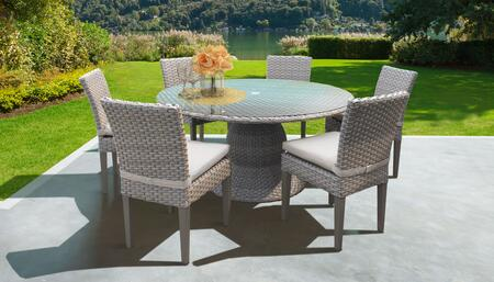 Florence Collection FLORENCE-60-KIT-6C-BEIGE Patio Dining Set with 1 Table   6 Side Chairs - Grey and Beige