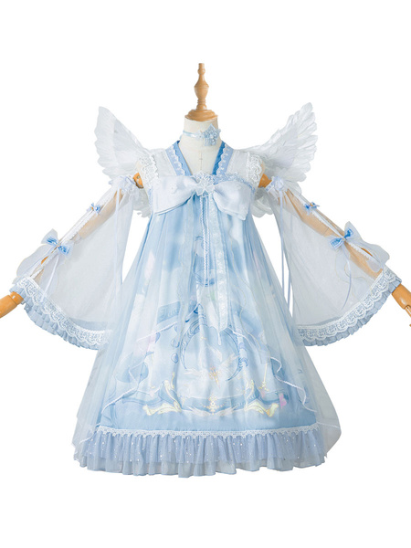Milanoo Chinese Style Lolita OP Dress Baby Blue Cloud Dreamland Lolita One Piece Dresses