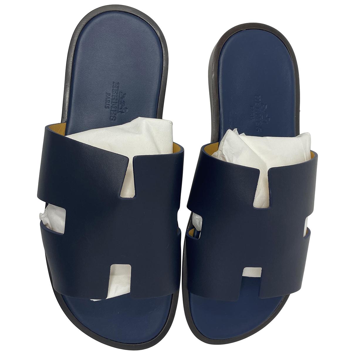 Hermès Izmir Navy Leather Sandals for Men 39 EU