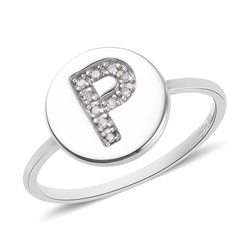 Platinum Over Sterling Silver White Diamond Ring Ct 0.06 - Ring 6 (Ring 9)
