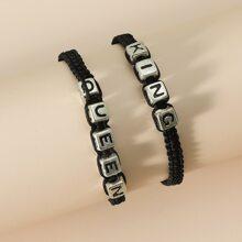 2pcs Letter Design Couple Braided Bracelet