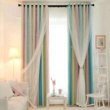 1pc Striped Pattern Star Hollow Curtain