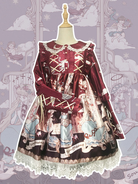 Milanoo Customized Sweet Lolita OP Dress Red Coral Neverland Floral Print Cascading RufflesBows Polyester Long Sleeve Lolita One Piece Dresses