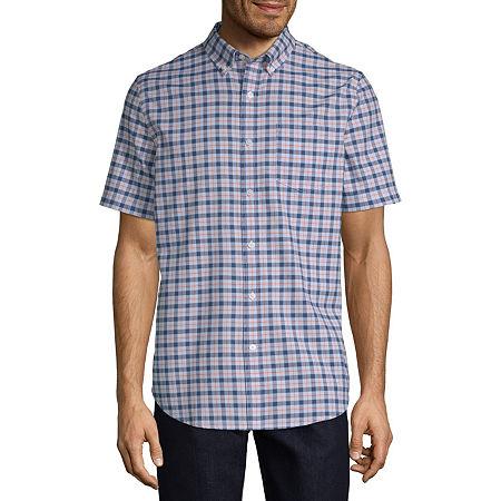 St. John's Bay Stretch Mens Short Sleeve Button-Down Shirt, Small , Blue