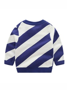 Toddler Boys Color Block And Letter Pattern Sweater