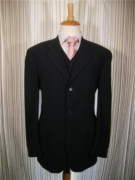 Mens 3Piece Suit Black Pinstripe 3Button Vested with Jacket and Pants