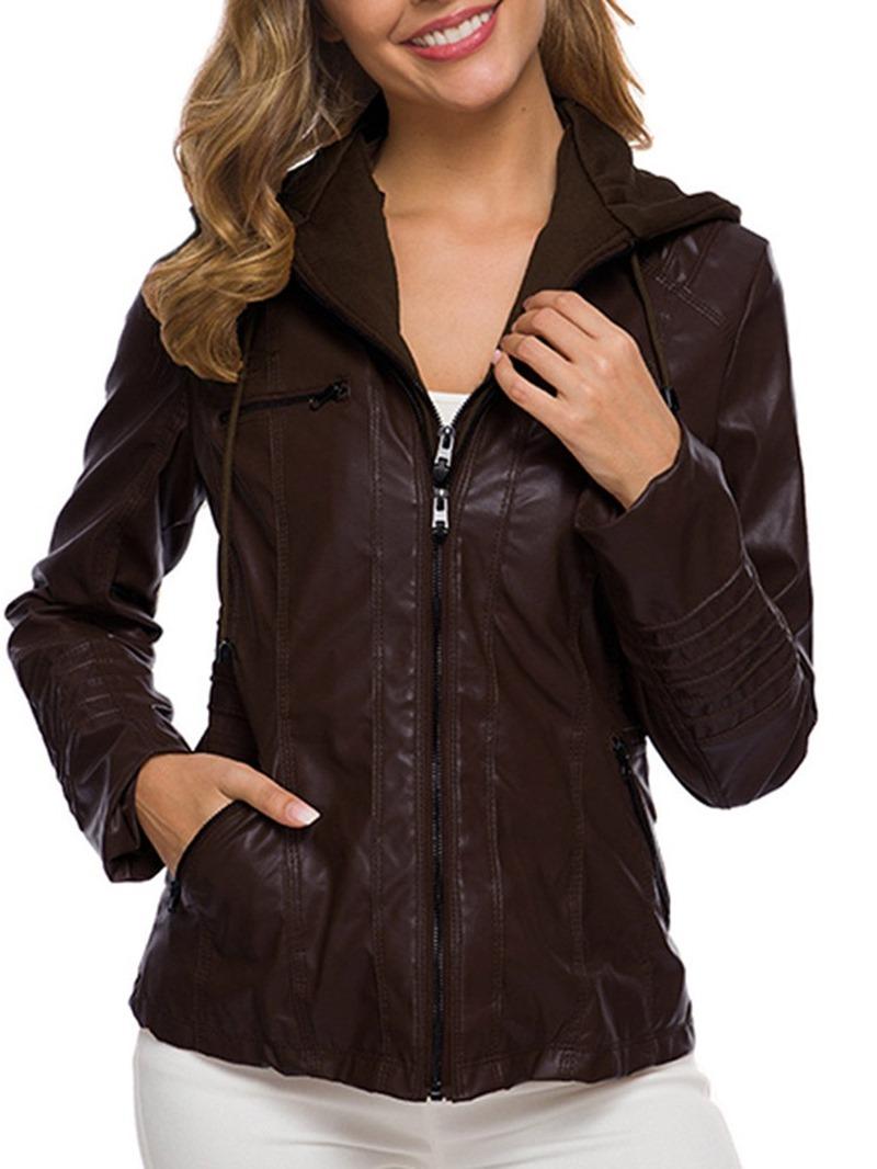 Ericdress Slim Zipper Standard Women's Fall PU Jacket