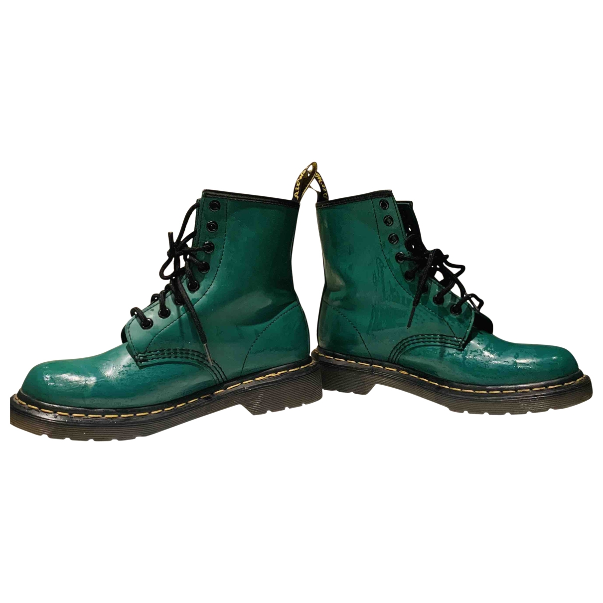 Dr. Martens \N Green Patent leather Ankle boots for Women 38 EU