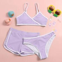 3 Stuecke Bikini Badeanzug mit Kontrast Bindung