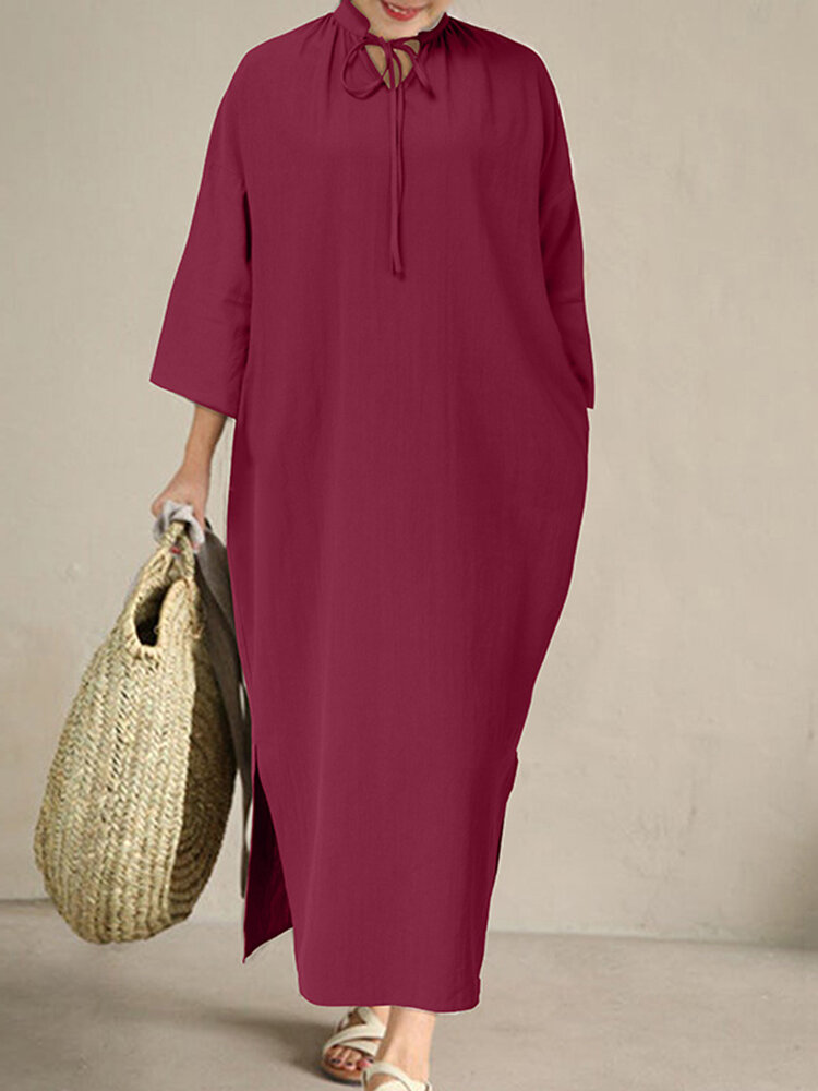 Casual Split Solid Color 3/4 Sleeve Plus Size Dress with Belt