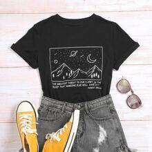 T-Shirt mit Galaxie & Buchstaben Grafik