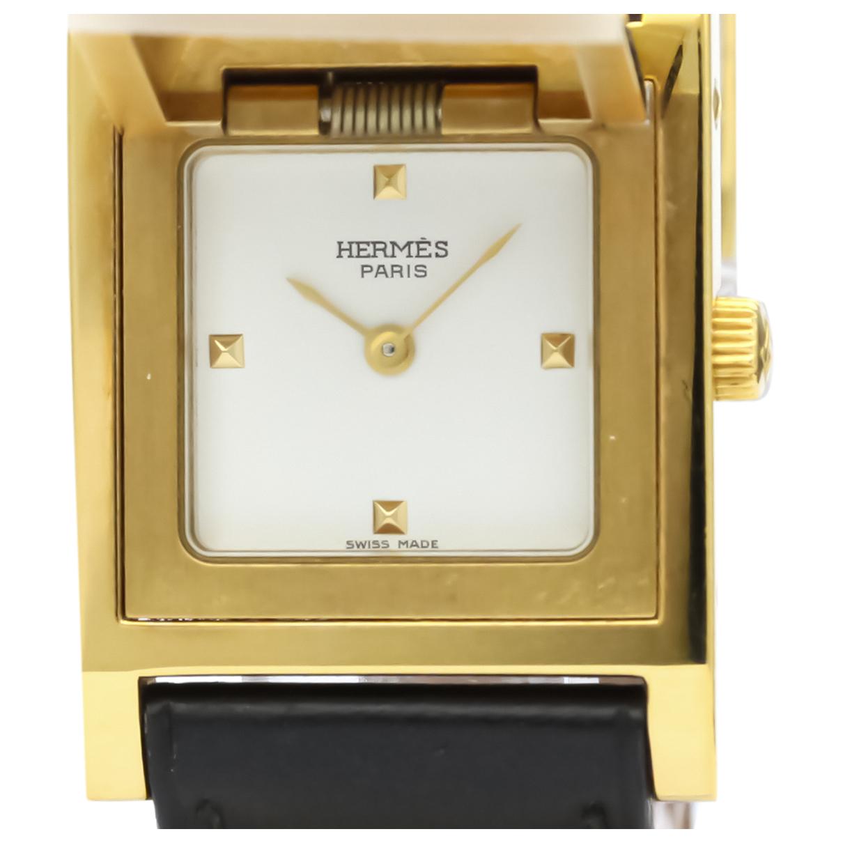 Hermes Medor Uhr in  Weiss Vergoldet