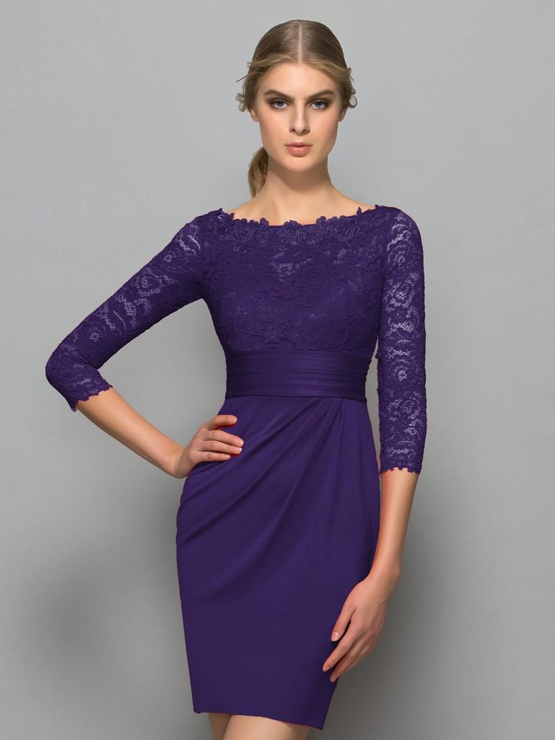 Ericdress Bateau Neck 3/4 Length Sleeve Lace Cocktail Dress