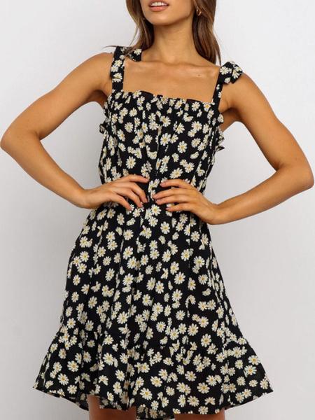 Milanoo Girasol vestidos sin mangas de la impresion floral atractivo Backless Vestido de tirantes