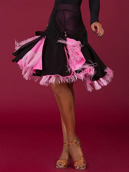 Milanoo Dance Costumes Latin Dresses Black Women Fringe Skirt Dancer Dancing Wears Outfit Halloween