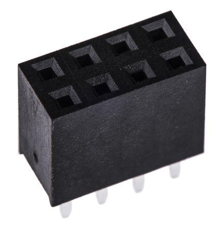 HARWIN 2.54mm Pitch 8 Way 2 Row Straight PCB Socket, Through Hole, Solder Termination (5)