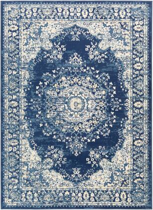 Ustad UST-2306 53 x 73 Rectangle Traditional Rugs in Navy  Denim  Wheat  Medium Gray