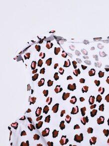 Girls Leopard Double Bow PJ Set