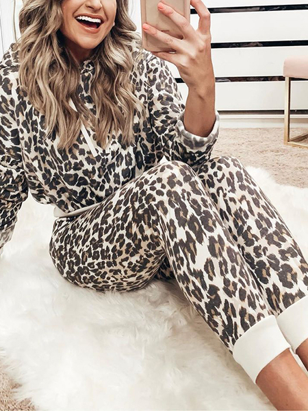 Yoins Leopard Hooded Drawstring Two Piece Outfit