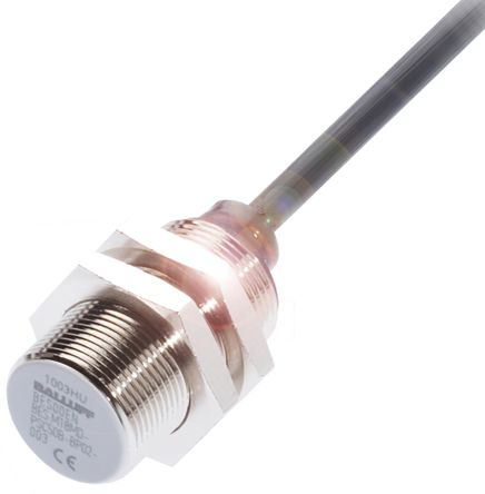 BALLUFF M18 x 1 Inductive Sensor - Barrel, PNP-NO Output, 8 mm Detection, IP67, Cable Terminal