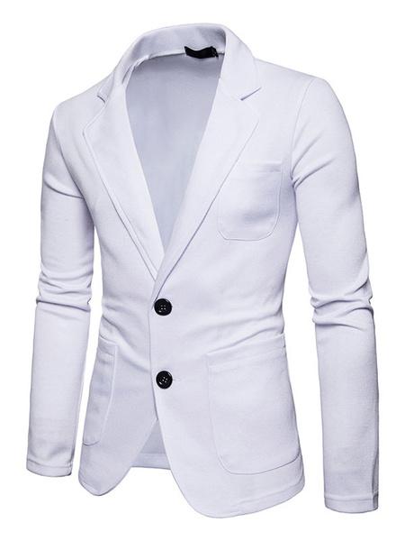 Milanoo White Casual Suit Blazer For Men Turndown Collar Long Sleeve Regular Fit Spring Jacket