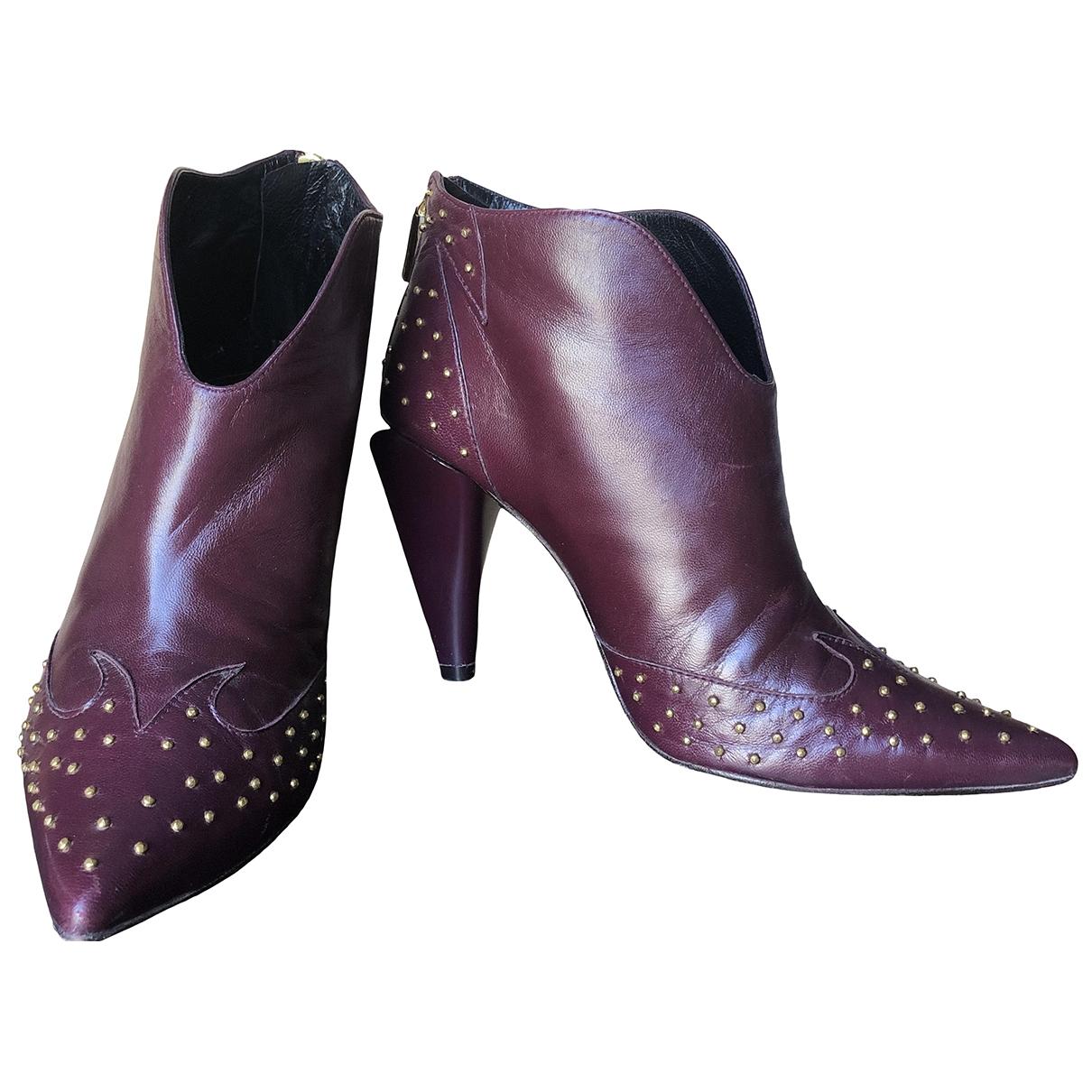 - Boots   pour femme en fourrure - bordeaux