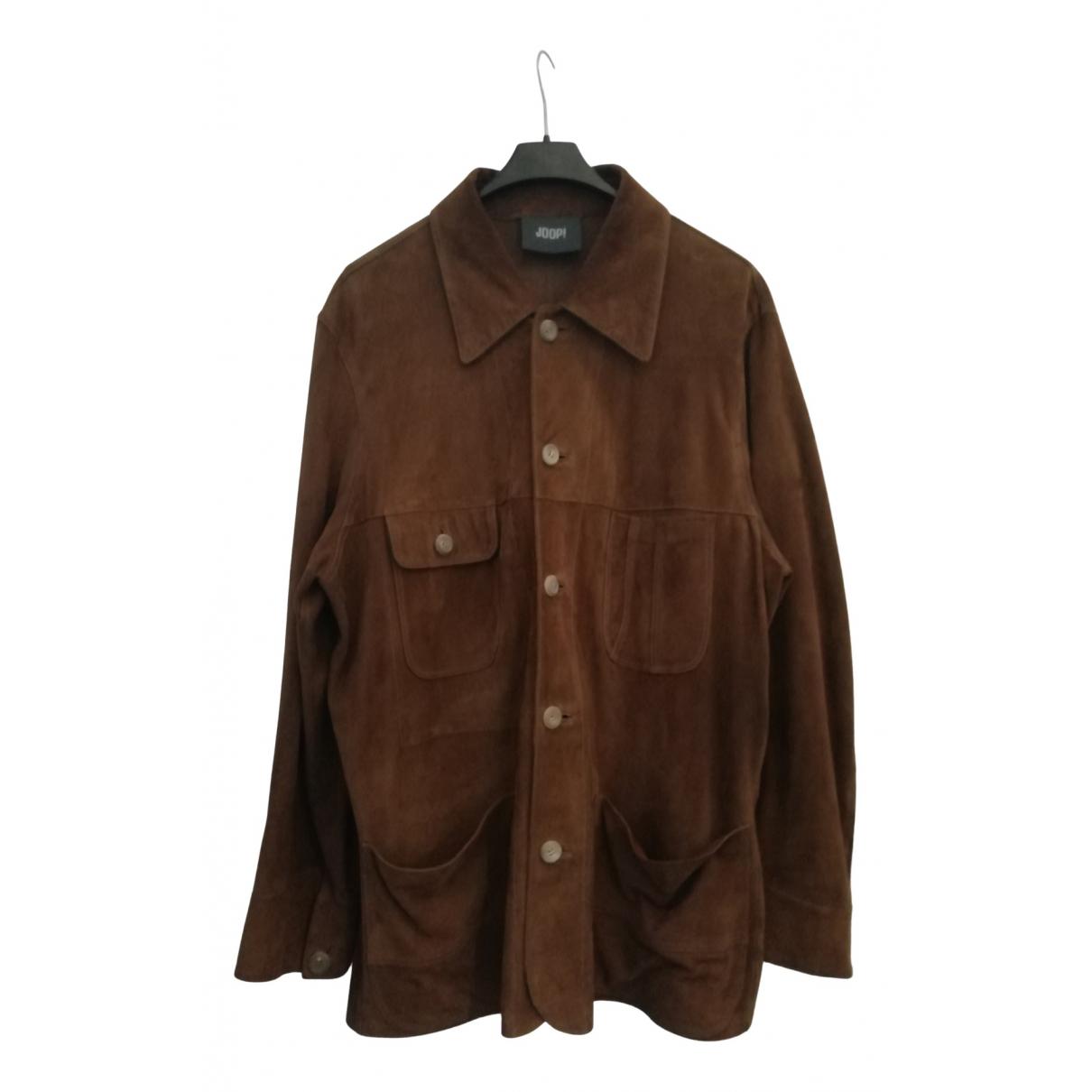 Non Signe / Unsigned Oversize Hemden in  Braun Veloursleder