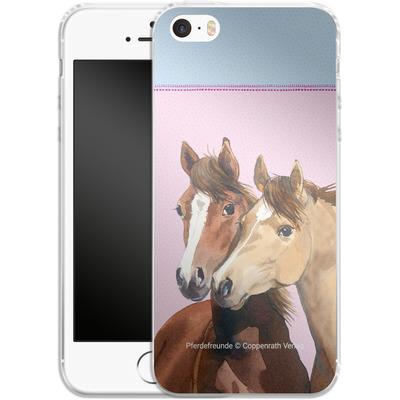 Apple iPhone 5s Silikon Handyhuelle - Pferdefreunde Rosa von Pferdefreunde