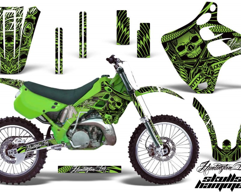 AMR Racing Dirt Bike Graphics Kit Decal Wrap For Kawasaki KX125 | KX250 1990-1991�HISH GREEN