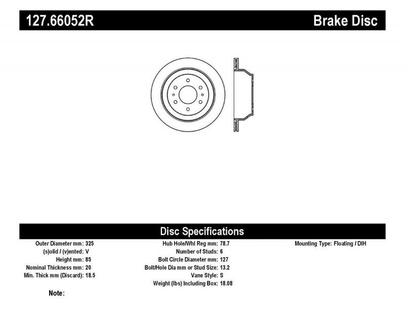 StopTech 127.66052R Sport Drilled/Slotted Brake Rotor; Rear Right Rear Right