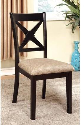 Liberta Collection CM3776SC-2PK Set of 2 Side Chair with Light Tan Padded Fabric Seat and Crossed Back in Dark Oak and