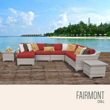 FAIRMONT-09c-TERRACOTTA Fairmont 9 Piece Outdoor Wicker Patio Furniture Set 09c with 2 Covers: Beige and