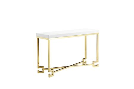 BM191459 Wooden Console Table with Designer Metal Feet and X Crossed Support  White and