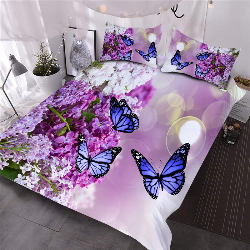 Blue Butterflies On Purple Lilacs Printed 3-Piece Comforter Sets