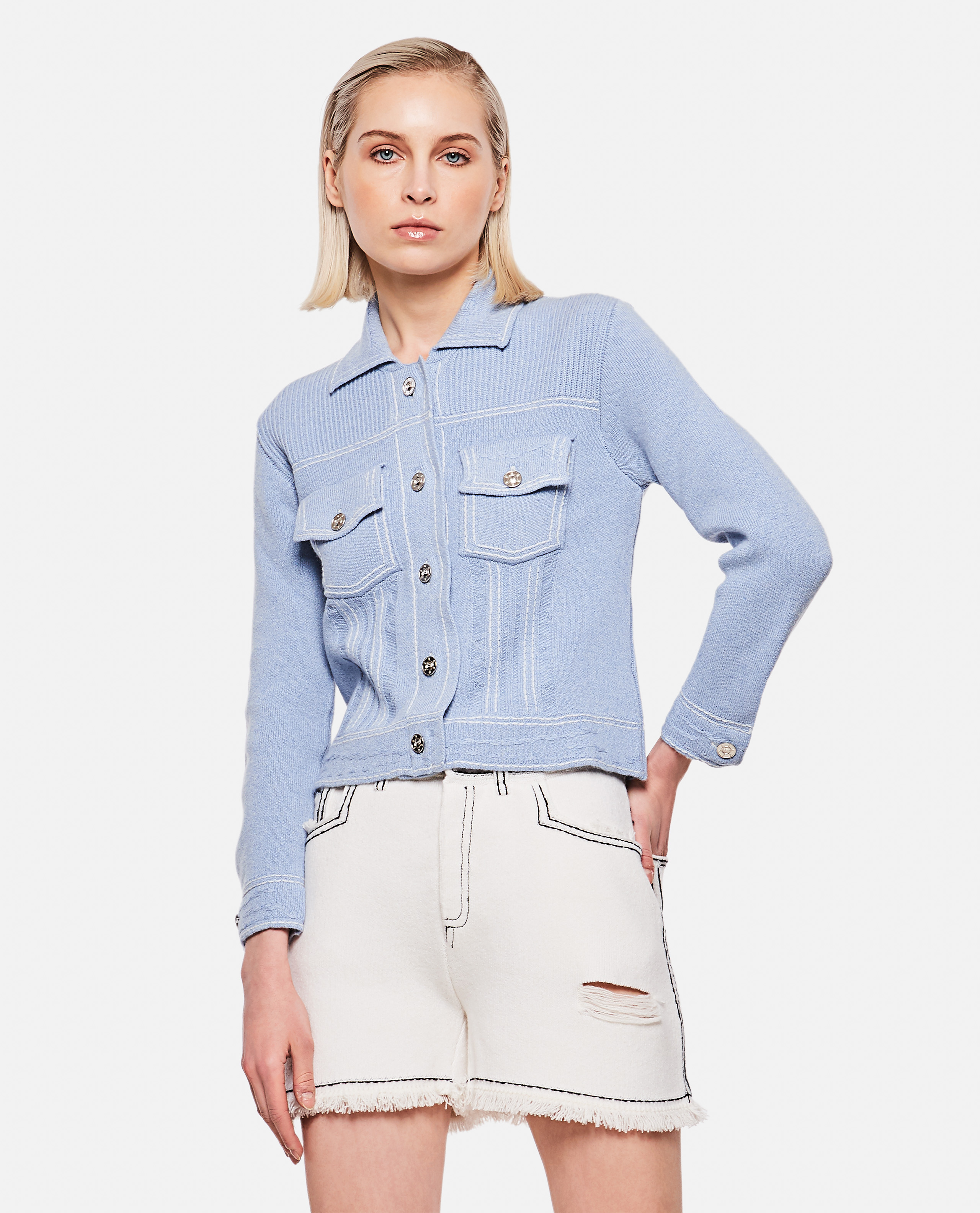 Denim-style cotton blend cardigan