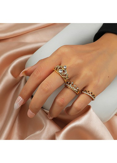 Mother's Day Gifts Crown Design Rhinestone Detail Metal Ring Set - One Size
