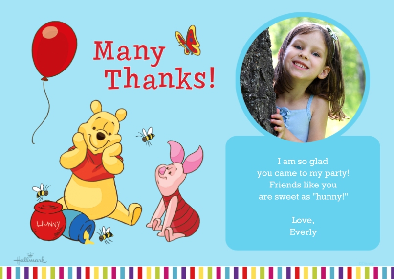 Kids Thank You Cards 5x7 Cards, Premium Cardstock 120lb with Scalloped Corners, Card & Stationery -Winnie the Pooh Birthday Thanks