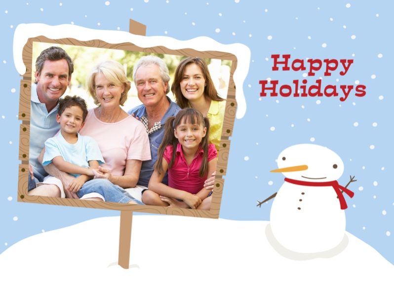 Holiday Photo Cards 5x7 Folded Cards, Standard Cardstock 85lb, Card & Stationery -Snowman Sign