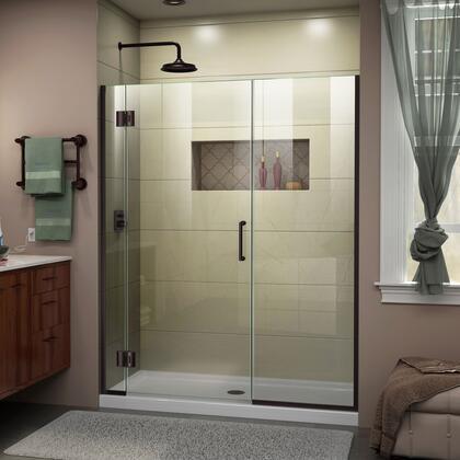 D1292272-06 Unidoor-X 57-57 1/2 W X 72 H Frameless Hinged Shower Door In Oil Rubbed