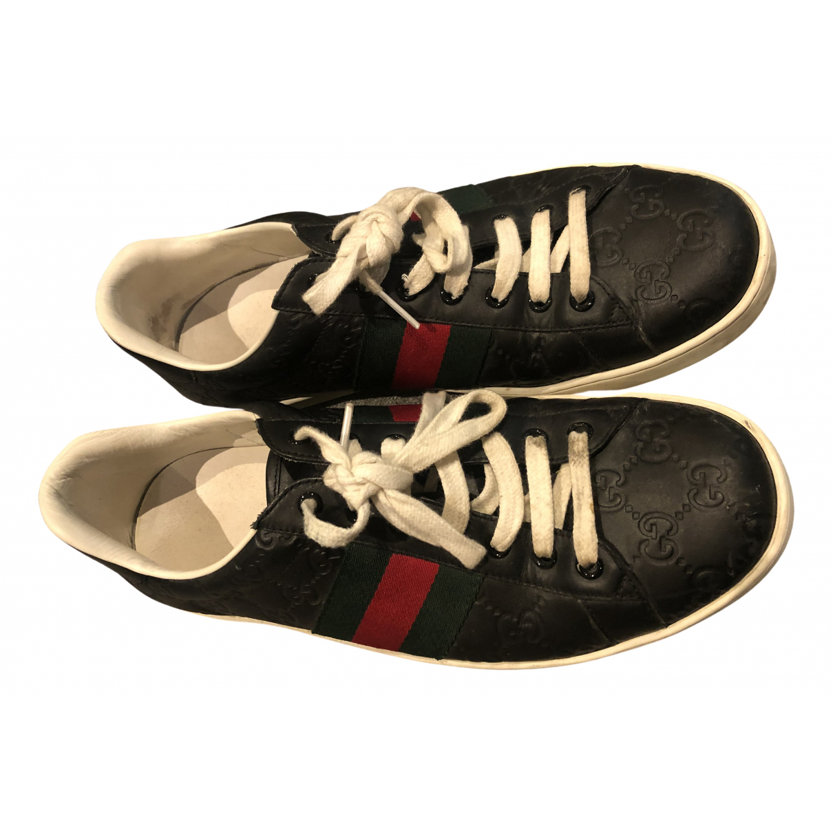 Gucci Ace Black Leather Trainers for Men 9.5 UK