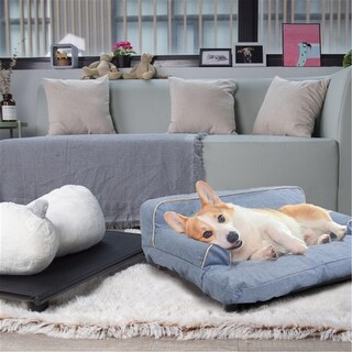 Wickman Dual-use Pet Sofa with Built-in Elevated Platform Base Machine Wash & Dryer Friendly Removable Cloth Cover (blue)